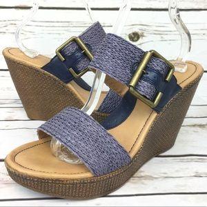 BOC Born Wedge Sandals Slip On Faux Leather Shoes